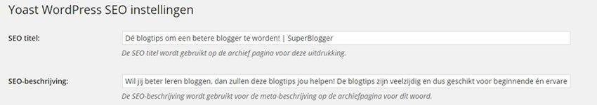 WordPress SEO categorieën