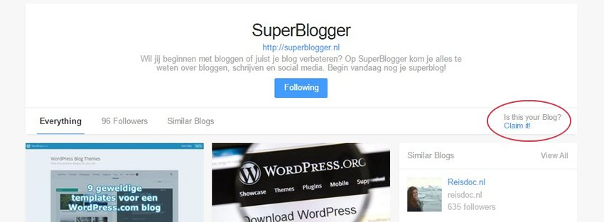 Bloglovin Blog claimen