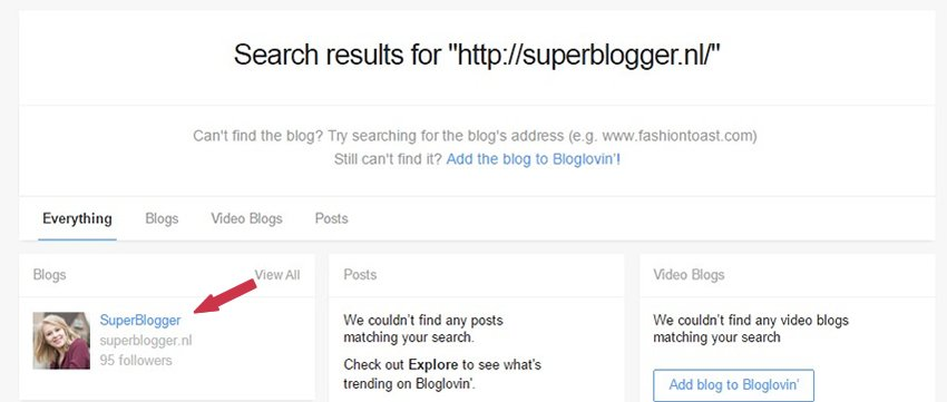 Bloglovin blog zoeken