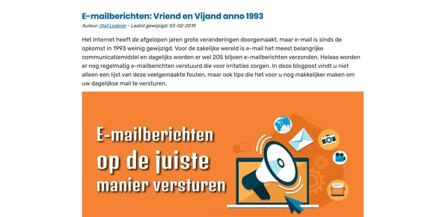 Voorbeeld blog over e-mail etiquette