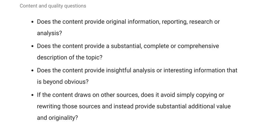 Google's richtlijnen voor goede content