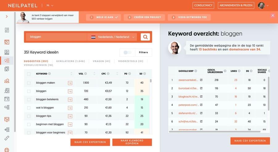 Zoekwoorden onderzoek tool Ubersuggest